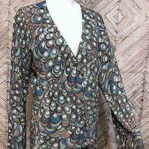 Chicos 1 womens M Shimmer peacock knit cardigan
